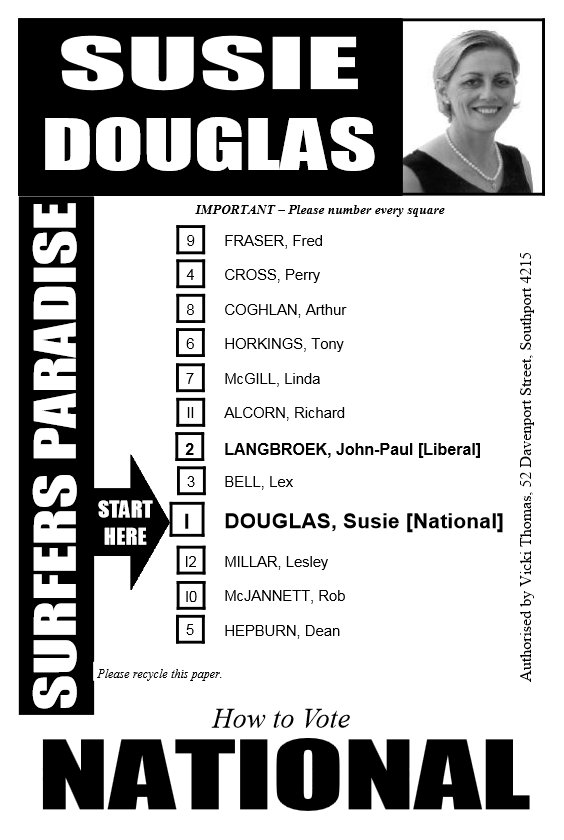Susie Douglas How to Vote card/>  <br> <p><a href=