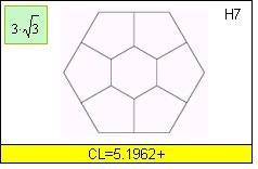 Baumann's division of side-1 regular hexagon into 7 parts.
