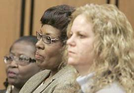 Jacqueline Maiden, center, stands with Rosie Grier, left, and Kathleen Dreamer, during court proceedings, Thursday, Jan. 18, 2007, in Cleveland. Maiden, who was the elections board's third-highest ranking employee, faces six counts of misconduct over how ballots were reviewed in Cuyahoga County in the 2004 presidential election. Grier, manager of the board's ballot department, and Kathleen Dreamer, an assistant manager, face the same charges. (AP Photo/Tony Dejak) (Tony Dejak)